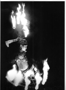 Sage Bell Dancing with Fire Fans